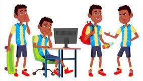 Chłopiec dzieciaka Uczniowskie pozy Ustawiający wektor Szkoły Średniej dziecko uczeń czerń Afro amerykanin Wrzesień, ucznie royalty ilustracja