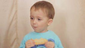 Chłopiec dziecka łasowania ciastka zdjęcie wideo