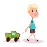 Chłopiec, dziecko, dzieciak lub facet z, zabawki ciężarówką lub ciężarówką ilustracji