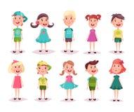 Chłopiec, dziewczyna, dzieciaki i dzieci, dzieciństwo temat ilustracja wektor
