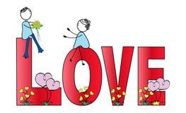 Chłopiec, dziewczyna i słowo miłość Zdjęcia Stock