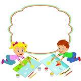 Chłopiec, dziewczyny rama i obraz i royalty ilustracja