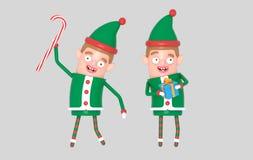 Chłopiec elfa Santa śliczni boże narodzenia trzyma prezent ilustracja 3 d royalty ilustracja