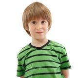 Chłopiec emocjonalny portret odizolowywający na bielu obrazy royalty free