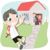 Chłopiec falowanie i bieg jego ręka jego rodzic Zdjęcia Royalty Free