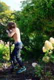 Chłopiec głębienie po dżdżownic w ogródzie Fotografia Stock