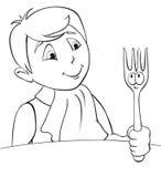 chłopiec gość restauracji royalty ilustracja