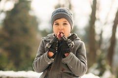 Chłopiec grże jego ręki Zimy pogoda Śnieg wokoło obraz royalty free