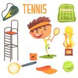 Chłopiec gracz w tenisa, dzieciak przyszłości sen zajęcia Fachowa ilustracja Z Powiązanym zawodów przedmioty Fotografia Stock
