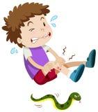 Chłopiec gryźć wężem ilustracja wektor