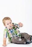 chłopiec gulgocze małego macanie Fotografia Royalty Free