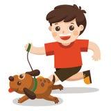 Chłopiec iść brać psa dla spaceru royalty ilustracja