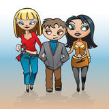 Chłopiec i dwa dziewczyny ilustracja wektor