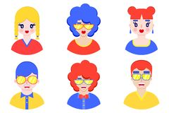 Chłopiec i dziewczyn avatars ilustracji