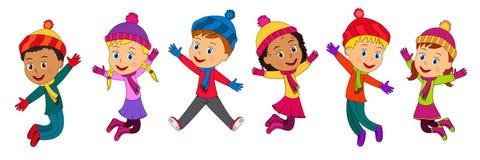 Chłopiec i dziewczyn skakać ilustracji