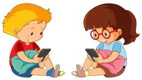 Chłopiec i dziewczyna bawić się telefon komórkowego ilustracja wektor