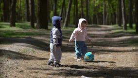Chłopiec i dziewczyna bawić się z piłką w lesie zbiory