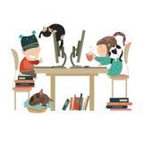 Chłopiec i dziewczyna chating na internecie royalty ilustracja