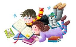 Chłopiec i dziewczyna cieszymy się czytelnicze książki ilustracji