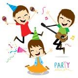 Chłopiec i dziewczyna Cieszymy się Partyjnego Ślicznego kreskówka wektor Fotografia Stock