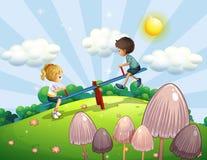 Chłopiec i dziewczyna jedzie seesaw ilustracji