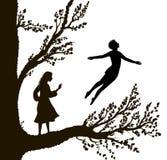 Chłopiec i dziewczyna na dużym drzewie, drzewo dzieciństwo, dzieciństwo pamięć, sposób kraina cudów, ilustracji