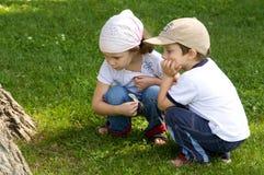 Chłopiec i dziewczyny patrzeć fotografia royalty free