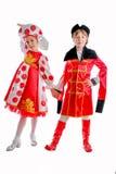 Chłopiec i dziewczyna w średniowiecznym karnawałowym kostiumu zdjęcia royalty free