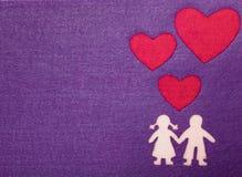Chłopiec i dziewczyna w miłości sylwetce Fotografia Royalty Free