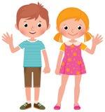 Chłopiec i dziewczyna w pełnym długości powitaniu Fotografia Stock
