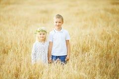 chłopiec i dziewczyna w pszenicznym polu obraz stock
