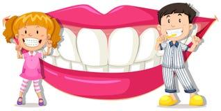 Chłopiec i dziewczyna z czystymi zębami ilustracji
