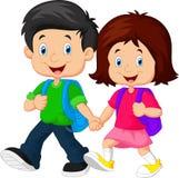 Chłopiec i dziewczyna z plecakami royalty ilustracja
