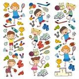 Chłopiec i dziewczyny bawić się sport ilustracyjną sprawność fizyczną, futbol, piłka nożna, joga, tenis, koszykówka, hokej, siatk Fotografia Royalty Free