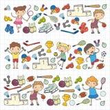 Chłopiec i dziewczyny bawić się sport ilustracyjną sprawność fizyczną, futbol, piłka nożna, joga, tenis, koszykówka, hokej, siatk Obrazy Royalty Free