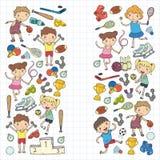 Chłopiec i dziewczyny bawić się sport ilustracyjną sprawność fizyczną, futbol, piłka nożna, joga, tenis, koszykówka, hokej, siatk Obraz Royalty Free