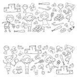 Chłopiec i dziewczyny bawić się sport ilustracyjną sprawność fizyczną, futbol, piłka nożna, joga, tenis, koszykówka, hokej, siatk Obrazy Stock