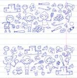 Chłopiec i dziewczyny bawić się sport ilustracyjną sprawność fizyczną, futbol, piłka nożna, joga, tenis, koszykówka, hokej, siatk Fotografia Stock