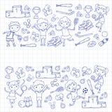 Chłopiec i dziewczyny bawić się sport ilustracyjną sprawność fizyczną, futbol, piłka nożna, joga, tenis, koszykówka, hokej, siatk Obraz Stock