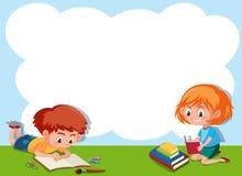 Chłopiec i dziewczyny czytania chmury rama ilustracja wektor
