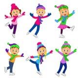 Chłopiec i dziewczyny jeździć na łyżwach kolekcję Zdjęcie Stock
