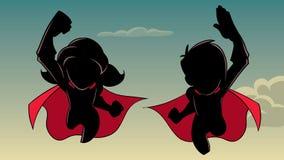 Chłopiec i dziewczyny latająca sylwetka ilustracji