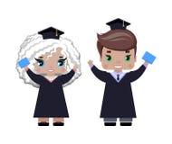 Chłopiec i dziewczyny mienia ręki w lecie, odziewają royalty ilustracja