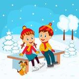 Chłopiec i dziewczyny obsiadanie na ławce w łyżwiarstwie ilustracji