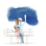Chłopiec i dziewczyny obsiadanie na parkowej ławce Ilustracji