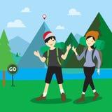 Chłopiec i dziewczyny pozycja z wycieczkować plecaki GPS Obraz Royalty Free