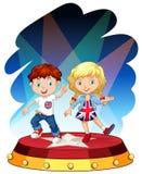 Chłopiec i dziewczyny taniec na scenie ilustracji