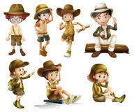 Chłopiec i dziewczyny w safari kostiumu royalty ilustracja