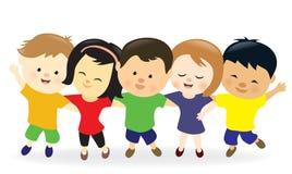 Chłopiec i dziewczyny z rękami wokoło each inny ilustracji