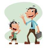 Chłopiec i mężczyzna postać z kreskówki ilustracja Zdjęcia Stock